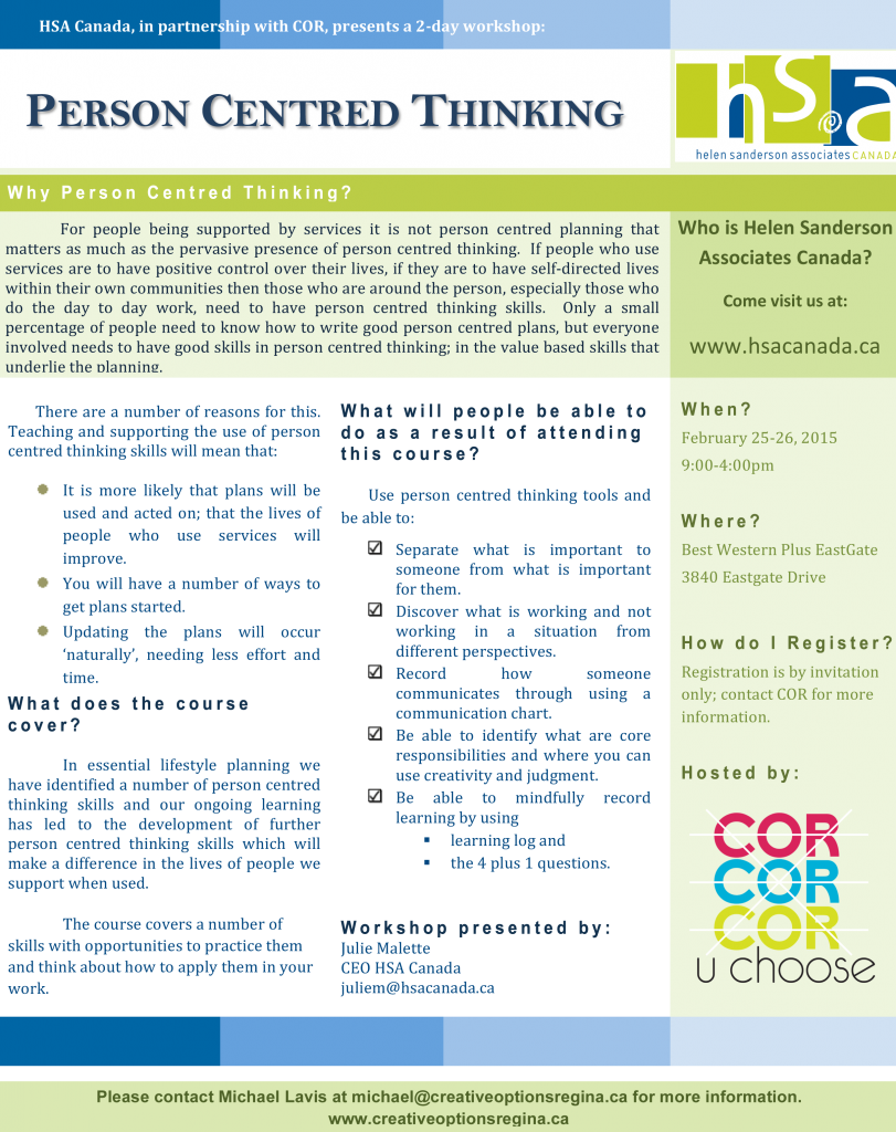 Person Centred Thinking Flyer - Feb 2015 - Creative Options Regina