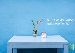 All ideas are valued and appreciated-cor