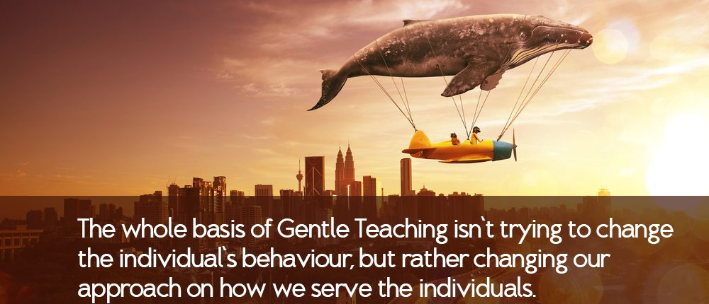 The whole basis of Gentle Teaching isn't trying to change the individual's behaviour, but rather changing our approach on how we serve the individuals