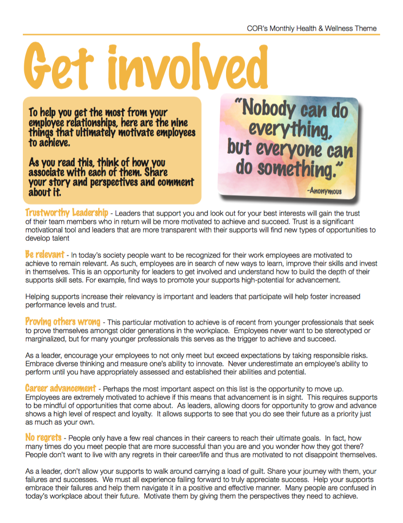 Get Involved - Health and Wellness Monthly Theme for July