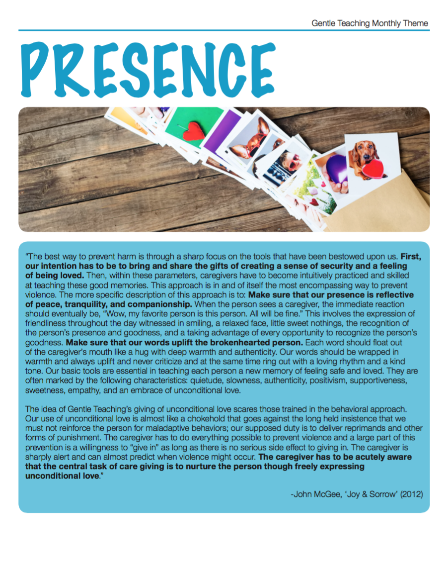 Gentle Teaching Theme - Presence