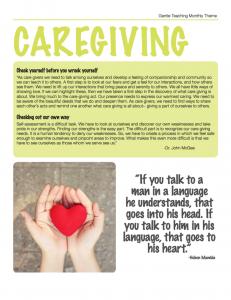 Gentle Teaching Theme for December 2016: Caregiving